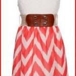 Wonder Girl Big Girls' Hi-Low Fuzzy Chevron Chiffon Dress Set