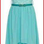 Wonder Girl Big Girls' Solid Lace Chiffon High Low Dress Set