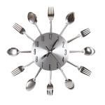 Ohuhu® Cutlery Kitchen Fork & Knife Wall Clock Decorative Clock, Sliver