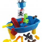Pirate Ship Beach Sand and Water Play Table for Kids with Shovel, Rake, Sand Wheel, Mini Boat, Shape Molds & More