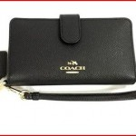 Coach Phone Wallet in Crossgrain Leather 63408 Gold black