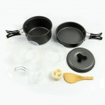 OuterEQ 8pcs Lightweight Outdoor Camping Hiking Cookware Backpacking Cooking Picnic Bowl Pot Pan Set
