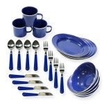 Stansport Enamel Tableware Set (24-Piece)