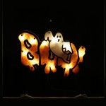 16 Lighted Boo Sign with Ghost Halloween Window Silhouette Decoration