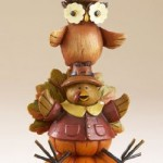 Decorative Pumpkin Turkey Owl Squirrel Stack 8 Resin