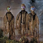 Set of 3 Lighted Zombie Stakes Halloween Decoration